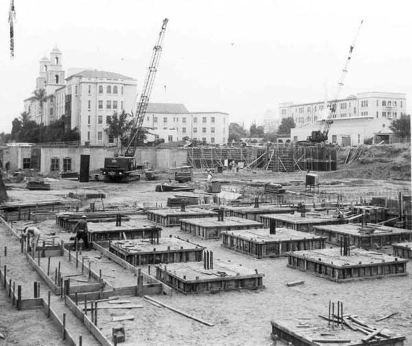 Black and white archive photo of CHOC Hospital Construction