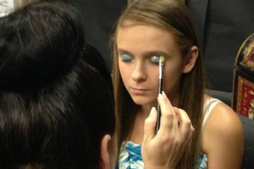 Applying make-up for the Oncology Prom