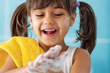 Learning the good habit of washing your hands
