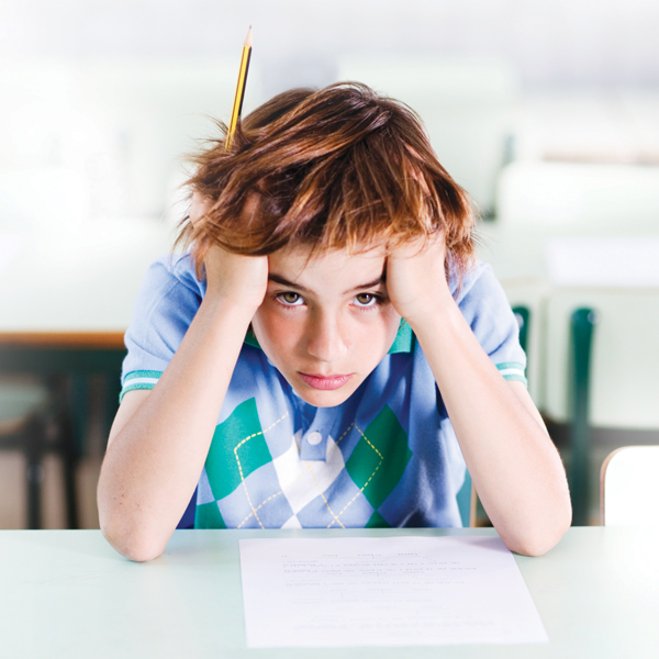 Boy showing signs of anxiety