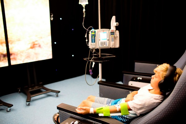 Boy cancer patient in the infusionarium