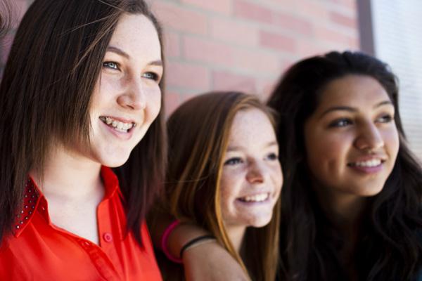 Smiling teen girls