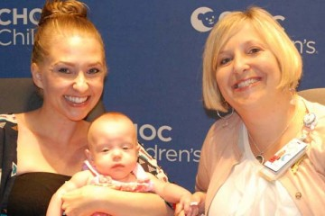 CHOC social worker Dana Sperling with mom and child