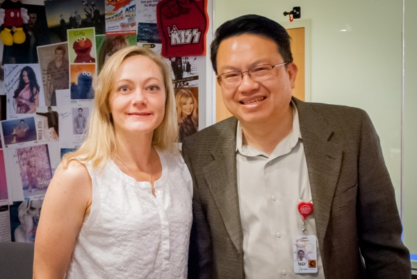 Dr. Alexandra Roche and Dr. Wayne Nguyen in Seacrest Studio for eating disorders podcast