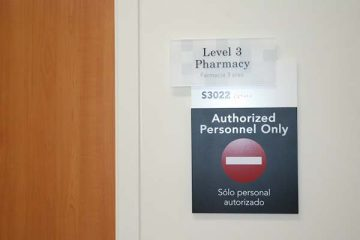 Signage for the pharmacy in the Tidwell Procedure Center