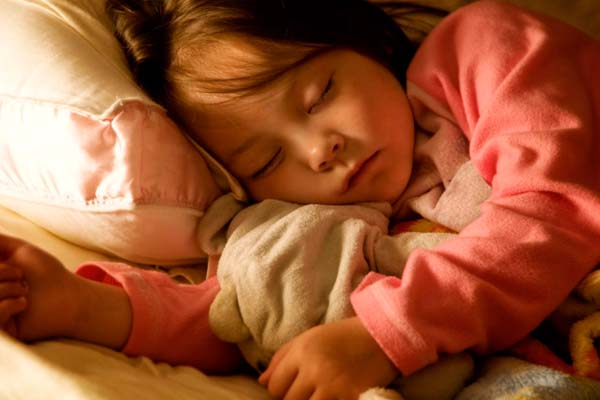 Night time scene of sleeping child
