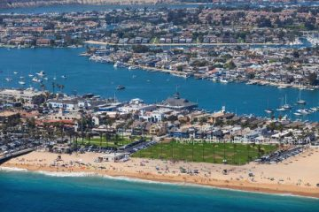 View from the air of Balboa Island