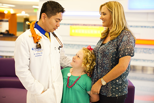 Dr. Richard Chang with patient and her mom
