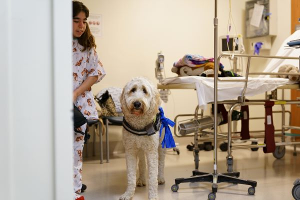 young radiology patient with pet therapy dog