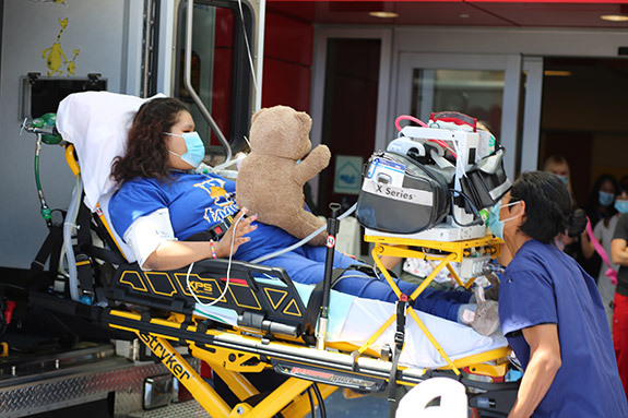 Teen patient being discharged from CHOC