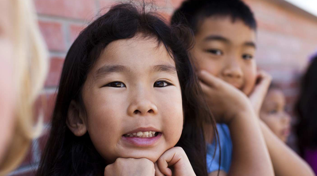 close-up of girl and boy