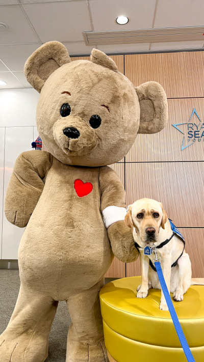 Choco Bear poses with Lois, CHOC's resident dog